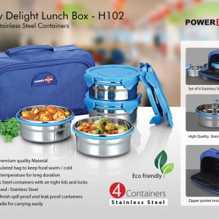 Personalized zippy delight: 4 container lunch box (steel containers)
