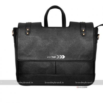 Personalized Black Cut Handle Pu Portfolio Bag