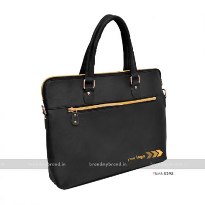 Personalized Black Gold Hand Bag