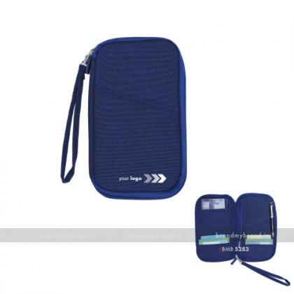 Personalized Blue Passport & Cheque Book Holder