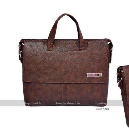 Personalized Brown Premium Cut Handle Portfolio Bag