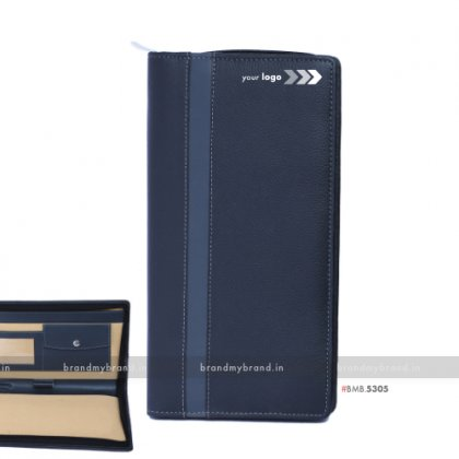 Personalized Gray Stripe Chequebook Holder