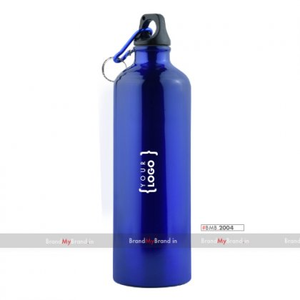 Personalized Blue Sports Bottle With Carabiner (750Ml)