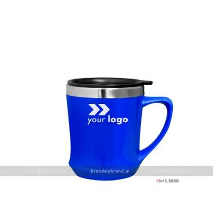 Personalized Blue Plastic Mug inside Steel