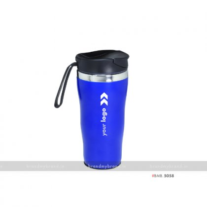 Personalized Insulated Blue Vacuum Mug with silicone Band