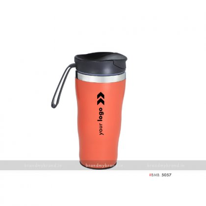 Personalized Insulated Red Vacuum Mug with silicone Band