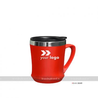 Personalized Red Plastic Mug inside Steel