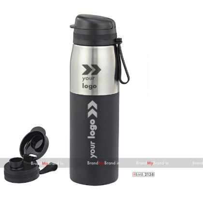 Personalized silver and black turbo-single wall stainless steel bottle (900 ml)