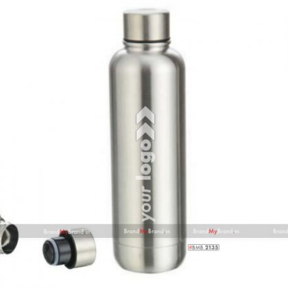 Personalized silver slam-double wall stainless steel flask (500 ml)
