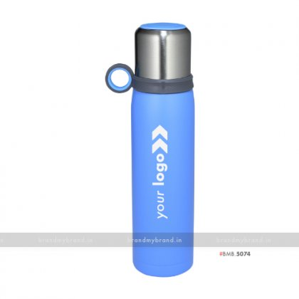 Personalized Steel Cup Blue Flask 600ml