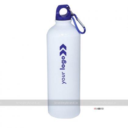 Personalized White Gloss Blue Cap Sports Bottle 750ml