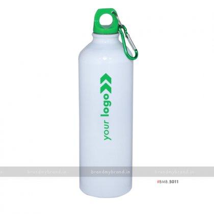 Personalized White Gloss Green Cap Sports Bottle 750ml