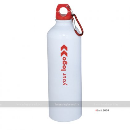 Personalized White Gloss Red Cap Sports Bottle 750ml