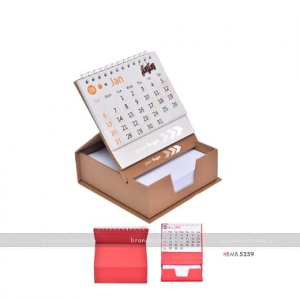 Personalized Brown Cube Calendar with Slip Rack