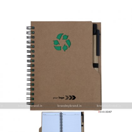 Personalized Green Wiro Notebook with Stickynotes