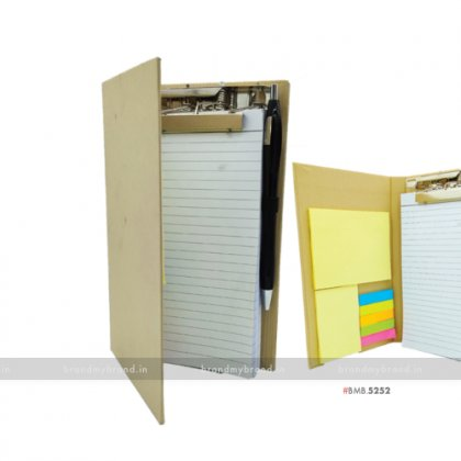Personalized Hard Cover Clip Pad with Sticky Note & Cards Pocket