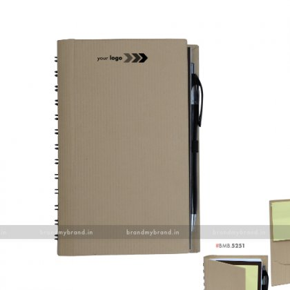 Personalized Hard Cover Wiro Notebook Sticky Note & Cards Pocket