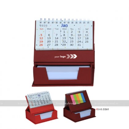 Personalized Mehroon Cube Calendar With Sticky Notes