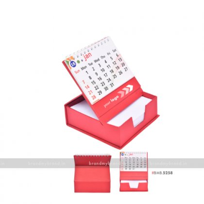Personalized Red Cube Calendar with Slip Rack