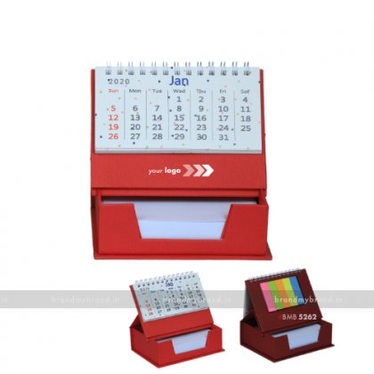 Personalized Red Cube Calendar With Sticky Notes