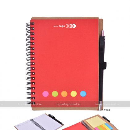 Personalized Red Eco Diary With Sticky Note & Pad