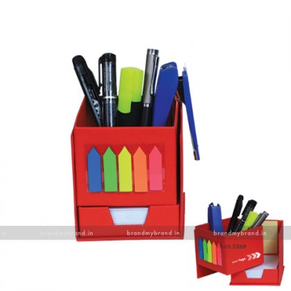 Personalized Red Multi utility Box with Slip Rack & Sticky Notes