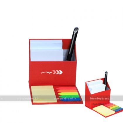 Personalized Red Smart Table Top with Slips & Sticky Notes
