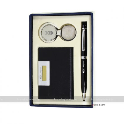 Personalized BG Pen, with BMW Keychain & Flat Cardholder