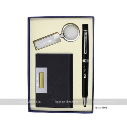 Personalized BG Pen, with Kingston Keychain & Flat Cardholder