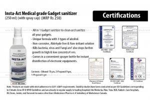 250 Ml Insta-Act Medical Grade Gadget Sanitizer (With Spray Cap)