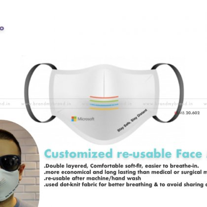 Customized Fabric Double Layered reusable corporate Mask