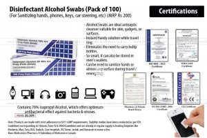 Disinfectant Alcohol Swabs (Pack Of 100) | For Sanitizing Hands, Phones, Keys, Car Steering, Etc