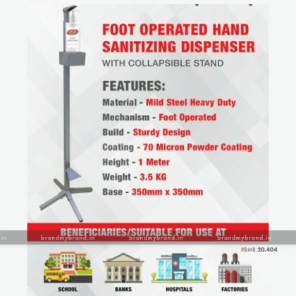 Foot Operated Hand Sanitizing Dispenser with collapsible stand
