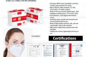 Golfspace KN95 Face Mask With Nosepin (FDA/ CE/ CNAS/ EN149 Certified) | Certificate Inside | 20pc Box