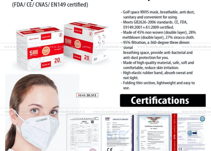 Golfspace KN95 Face Mask With Nosepin (FDA/ CE/ CNAS/ EN149 Certified)   Certificate Inside   20pc Box