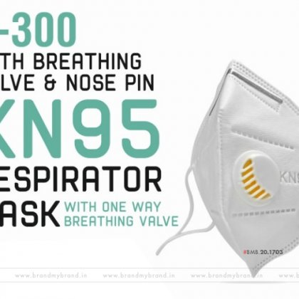 K300/KN95 particulate respirator face mask with breathing valve nose pin