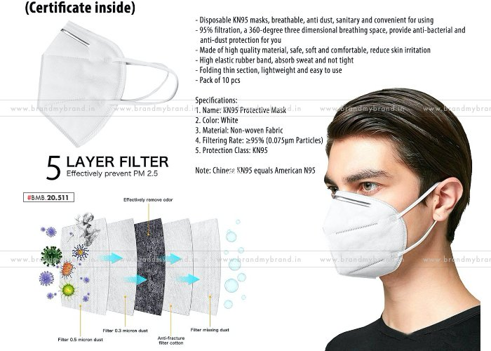 Panther KN95 Mask With Nosepin   Certificate Inside   10pc Box