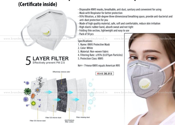 Panther KN95 Respirator Mask With Nosepin | Certificate Inside | 50pc Box