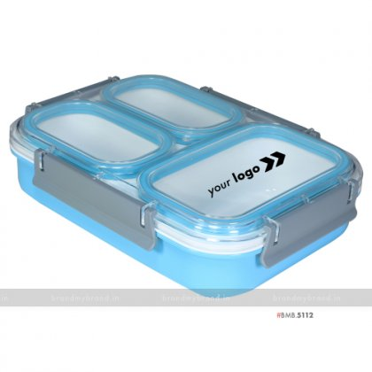 Personalized Blue 3 Part XL Lunch Box