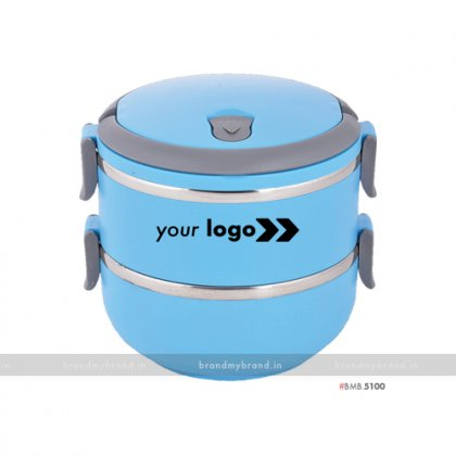 Personalized Blue Matt Double Layer Lunch Box