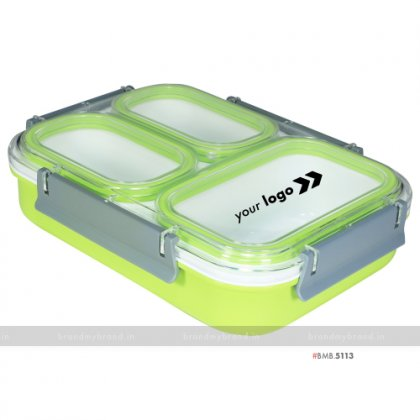 Personalized Green 3 Part XL Lunch Box