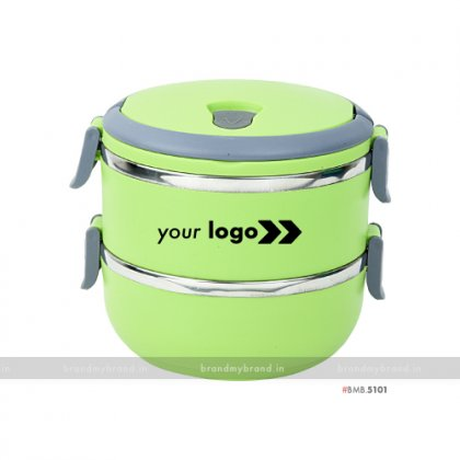 Personalized Green Matt Double Layer Lunch Box