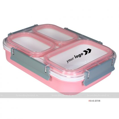 Personalized Pink 3 Part XL Lunch Box
