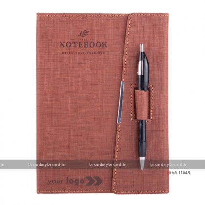 Personalized 3 Fold Pen Lock - Brown - Hard Cover A5 Notebook