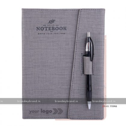 Personalized 3 Fold Pen Lock - Grey - Hard Cover A5 Notebook