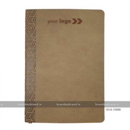 Personalized Beige (textured) - Soft Cover A5 Notebook