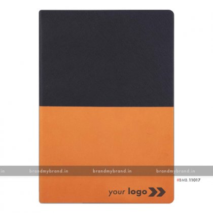 Personalized Black-Orange - Hard Cover A5 Notebook