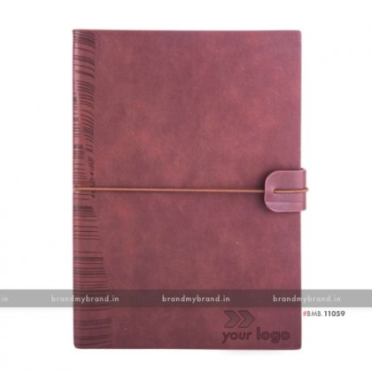 Personalized Brown - Elastic Lock Premium - Soft Cover A5 Notebook