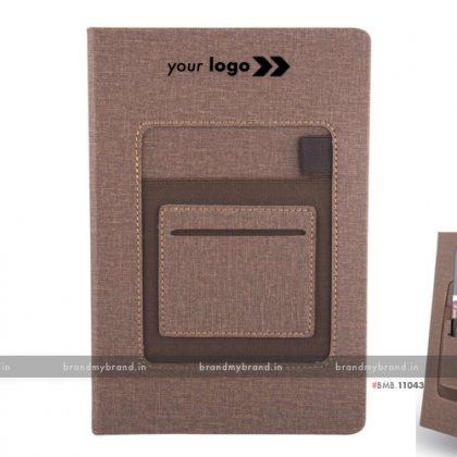 Personalized Brown Jute Mobile Pocket - Hard Cover A5 Notebook