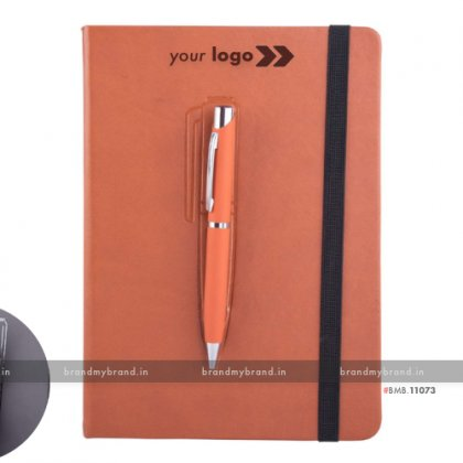 Personalized Brown Magnet Note Book - Hard Cover A5 Notebook